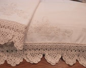 Off-White Pillowcases, Basket Embroidery, Off-White Crocheted Edging