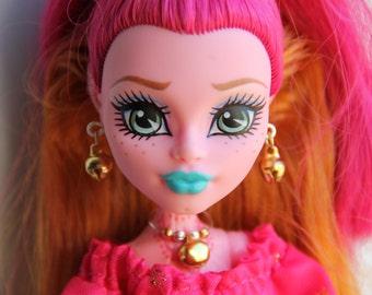 Silver & Gold Christmas Jingle Bells Beaded Charm Necklace Earrings Bracelet Doll Jewelry fits Petite Slimline High Dolls