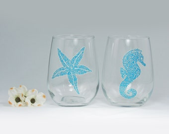 Beach theme stemless wine glasses - Set of 2 - Sea Glass Collection