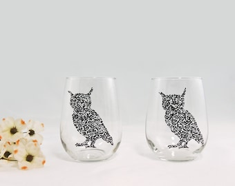 Owl wine glasses - Hand painted stemless glasses - Set of 2