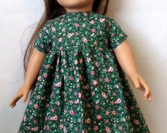 18 in Doll Short Sleeve Dress - Dark Green with Rose Flowers Print.