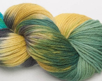Hand dyed Bluefaced Leicester BFL Hand painted DK yarn 100g skein Indie Skein View from the hill