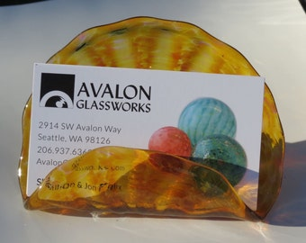 """Amber Business Card Holder, 4"""" Hand Blown Glass Desk Accessory in Transparent Amber, Photo Holder, Executive Gift, By Avalon Glassworks"""