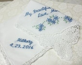 Mom to daughter, wedding handkerchief, hand embroidered, personalized, something blue, bridal gift, mom to bride, lace hanky, bouquet wrap