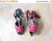 5O% OFF SALE burgundy suede pumps, vintage 70s hush puppies leather heels, size 6 shoes