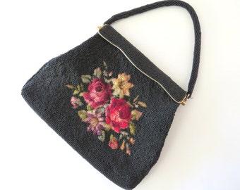 Vintage Beaded Purse, Black Handbag, Floral Needlepoint Evening Bag, Red Roses, Bouquet of Flowers