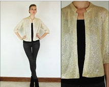 SUMMER SALE Vintage 50's Wedding Knit Sequin Party Iridescent Bell sleeve Elegant Cocktail Jacket Cardigan Sweater S M