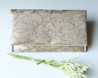 The AMELIA CLUTCH - Lace Wedding Clutch - Bridesmaid Gift Idea - Taupe/Mocha Lace over Butter Gold Satin (petite version)