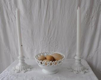 Vintage Milk Glass Candlesticks and Bowl/Vintage 1950s 60s/Pure White Centerpiece Set