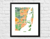 Miami Florida Art Map Print.  Choose your size and color.  Perfect for your favorite University of Miami Hurricane
