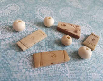Mixed Natural Bone Pendant and beads, ethnic, tribal hand carved bone beads 8pcs