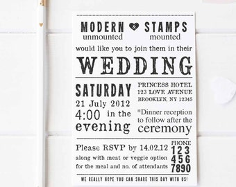 Wedding Invitation Stamp   Wedding Stamp   Custom Wedding Stamp   Custom Stamp   Personalized Stamp   Newspaper Wedding Invitation   W1