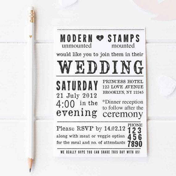 Wedding Invitation Stamp   Wedding Stamp   Custom Wedding Stamp   Custom Stamp   Personalized Stamp   Newspaper Wedding Invitation   W1