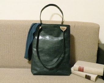 "shoulder bag, green leather tote, ooak handmade shopping bag, handbag - italian quality leather ""NICOLA"""