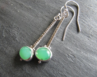 Chrysoprase Dangle Earrings in Sterling Silver