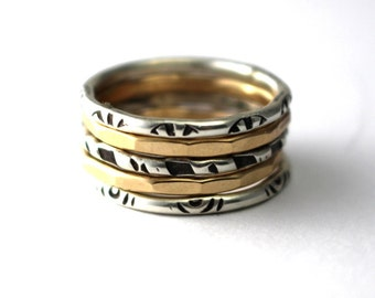 Stack Ring Set Of 5, Sterling Stack Rings, Gold Stack Rings, Stacking Bands, Womens Rings, Antiqued Rings, Silver Stack Rings, Hammered Ring