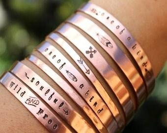 Copper Cuff Bracelet, Arrow Cuff, Brass Cuff, Choice Of 1, Hipster Cuff, Womens Cuff, Crossed Arrow Cuff, Feather Cuff, Feather Bracelet