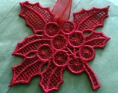Lace Christmas Decoration Red Holly