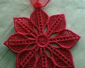 Lace Christmas Decoration Red Flower