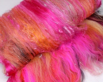 Art Batt - Drum Carded Wool Fiber Batt -2ozs - Merino, Corriedale, Locks, Bamboo, Silks and Sparkles - Mean Machine