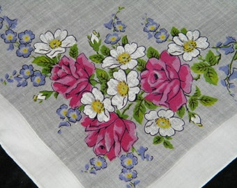 Vintage Pink and Purple Mixed Floral Wedding Handkerchief or Doily, 9746