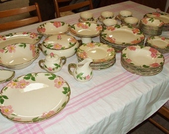 60 Piece Lot of FRANCISCAN DESERT ROSE Dinnerware- 6 Place Setting + Serving Pieces