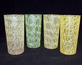 4 Vintage COLOR CRAFT Rubberized Spaghetti String Glasses Water Tea Tumblers   (0310)