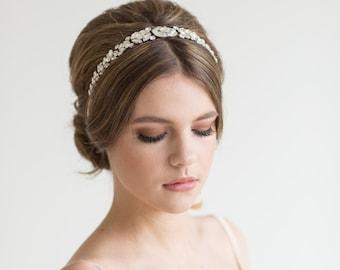 Wedding Headpiece, Bridal Ribbon Headband, Wedding Headband, Bridal Headband, Crystal Headpiece