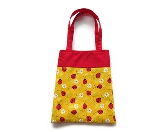 Small Ladybug Gift Bag - Goodie Bag - Mini Tote