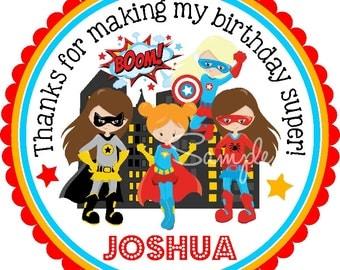 SUPERHERO Girls stickers, Superhero Stickers, Superhero Girls Gift Tags, Girl Superhero Birthday Party- Set of 12