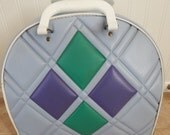 Vintage Bowling Bag Light blue with Green and Purple Accents