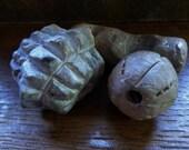 Artisan made large ceramic beads - wood fired - set of 3