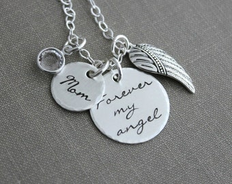 Forever my angel, memorial loss necklace, sterling silver hand stamped quote necklace, personalized with date or name and birthstone Custom
