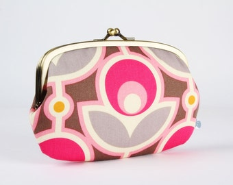 Metal frame purse with two sections - Vintage flowers in grey and pink - big siamese / orange slate fuchsia