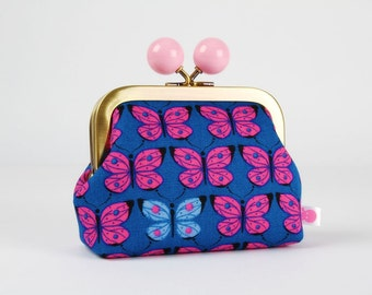 Metal frame coin purse with color bobble - Butterflies on blue - Color dad / Japanese fabric / cobalt neon pink purple