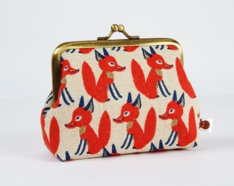 Metal frame change purse - Foxes in red - Deep dad / Woodland forest inspiration / taupe grey brown denim blue / japanese fabric / autumn