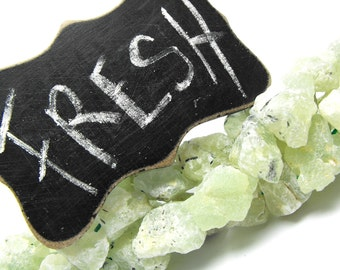 RAW PREHNITE 00455 genuine precious gemstone beads natural peppered green epidote included 20mm chunky hammered cobbed free form stones