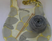 Special Order for Katy - Japanese Knot Bag - large size - for knitting crochet - Amy Butler Midwest Modern-Morning Glory-Wall Flower