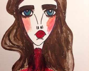 Fallon, 9 x 12 mixed media, painting, water color paper, wall art, dynasty