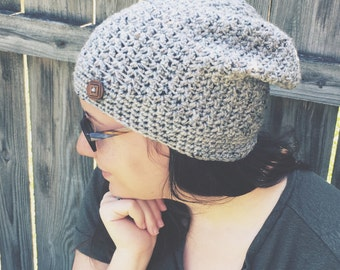 Slouchy hat cream grey tweed fall accessories ladies beanie handmade wooden button accent