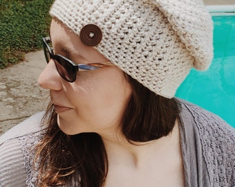 Slouchy hat linen grey off white fall accessories ladies beanie handmade wooden button accent