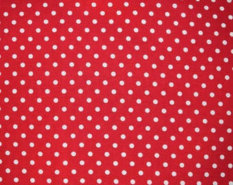 Yuwa Red Polka Dots a 100% cotton Japanese import sold in 1/2 yard increments