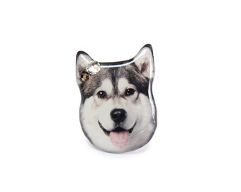 Grey and White Husky Dog Ring - A0010-R D18 Made to Order