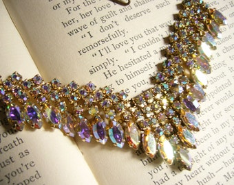 Dazzling Vintage AB Rhinestone Necklace - Marquise and Round Cut - Colorful and Sparkling