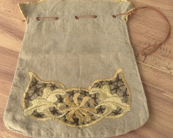 Antique Sewing Bag, Drawstring Purse, Arts and Crafts Embroidery on Dark Ecru Linen