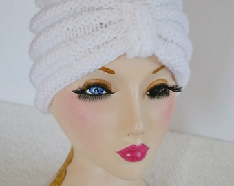White Knitted Turban Beanie Hat, Warm Chunky Hat, Knitted, Knit hat, UK, Xmas Gift Present