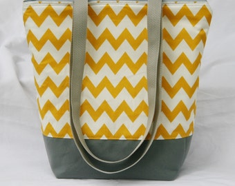 Mustard Chevron Stripe-Insulated Lunch Bag-Tote-Eco-Friendly and Washable-Water and Mildew Resistant Interior -Extra Large-Tall Size