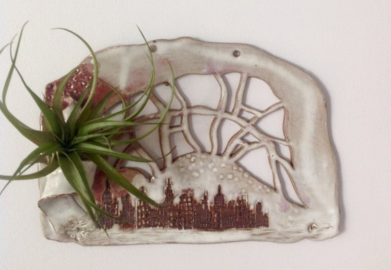 Items similar to ceramic wall art air plant holder on etsy for Air plant wall art