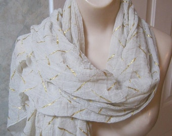 Vintage boho natural long shoulder wrap, gold pattern ivory shawl wrap, exotic look lightweight soft wrap, organic look woven scarf