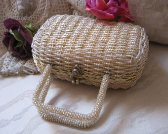 Vintage Walborg small woven goldtone boxy handbag, bride's gold wire beaded Kelly bag, wedding handbag, hardstructured gold wire handbag